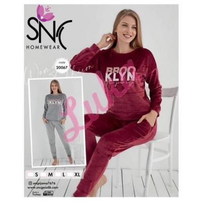 Piżama damska turecka gruba SNC welur 556